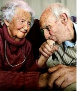 Loving elder couple